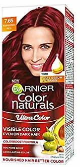 Garnier Color Naturals Crème Riche Hair Color, 765 Raspberry Red, 55ml + 50g