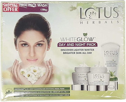 Lotus Herbals White Glow Day and Night Pack with free face wash ,220gm