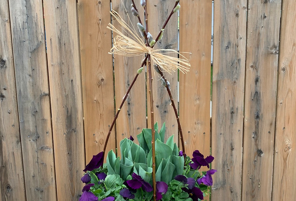 SPRING BULB PLANTER WITH PUSSY WILLOW