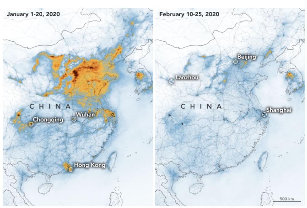 mapa da china com manchas de poluição em janeiro de 2020 e sem manchas de poluição em fevereiro de 2020