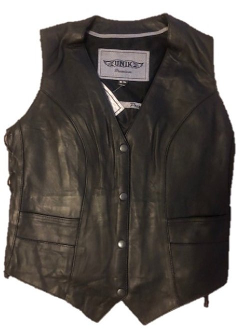 LADIES PREMIUM BRAIDED LEATHER VEST