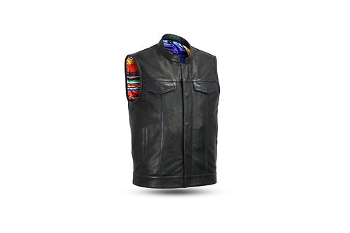 Men's Leather Custom Club Vest w/ Collar