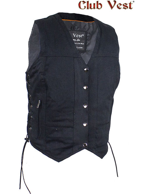 Women's Black Denim Gun Pocket Vest by Club Vest