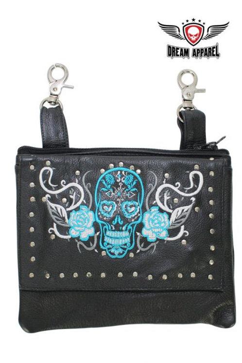 Studded Turquoise & White Sugar Skull Naked Cowhide Leather Belt Bag W/ Gun Pock