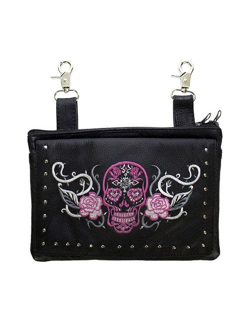 Pink & White Sugar Skull Naked Cowhide Leather Gun Holster Belt Bag with Studs
