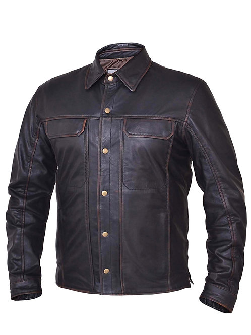 MEN'S COWHIDE NEVADA BROWN LIGHTWEIGHT LEAHER SHIRT