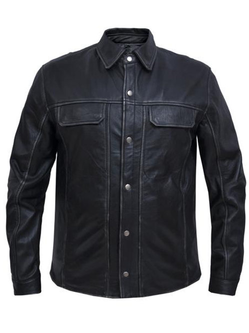 MEN'S COWHIDE GREY RUBOFF LIGHTWEIGHT LEAHER SHIRT