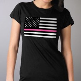 LADIES PINK THIN LINE FLAG SS