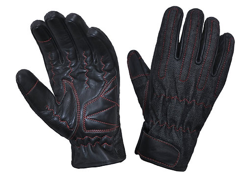 LEATHER/DENIM KEVLAR GLOVES