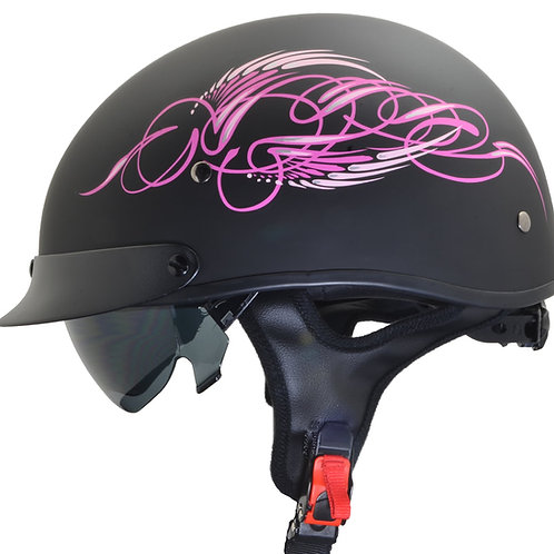VEGA WARRIOR PINK SCROLL HALF HELMET