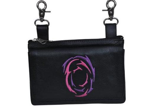 COWHIDE SKIN CLIP-ON BAG PURPLE/PINK DESIGN