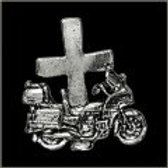 MOTORCYCLE W/CROSS PIN