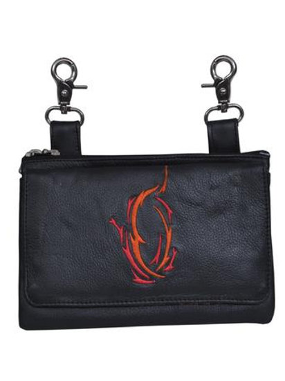 COWHIDE SKIN CLIP-ON BAG RED/ORANGE DESIGN