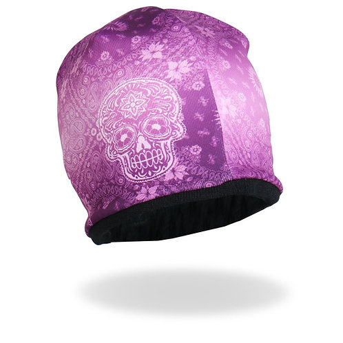 PINK PAISLEY WITH SUGAR SKULL BEANIE