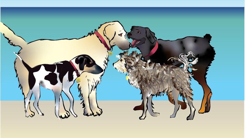 Unframed art print - Dogs Meet at the Beach