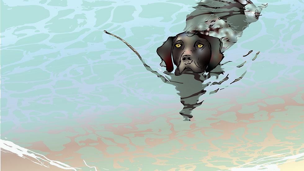 Unframed art print - Jess swimming in the lagoon