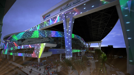 Building projection side of stadium
