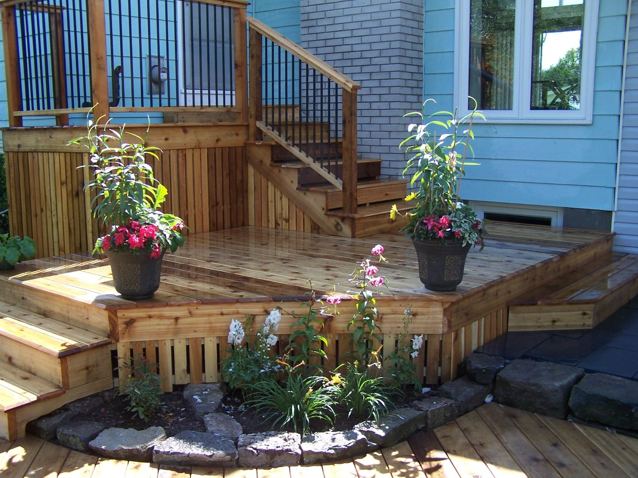 Curved Deck and Stone Planters