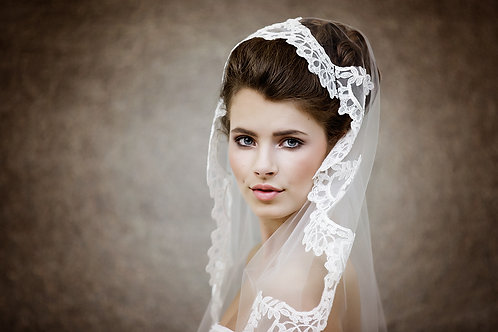 Wedding Lace Veil - Lace cap Veil - Mantilla