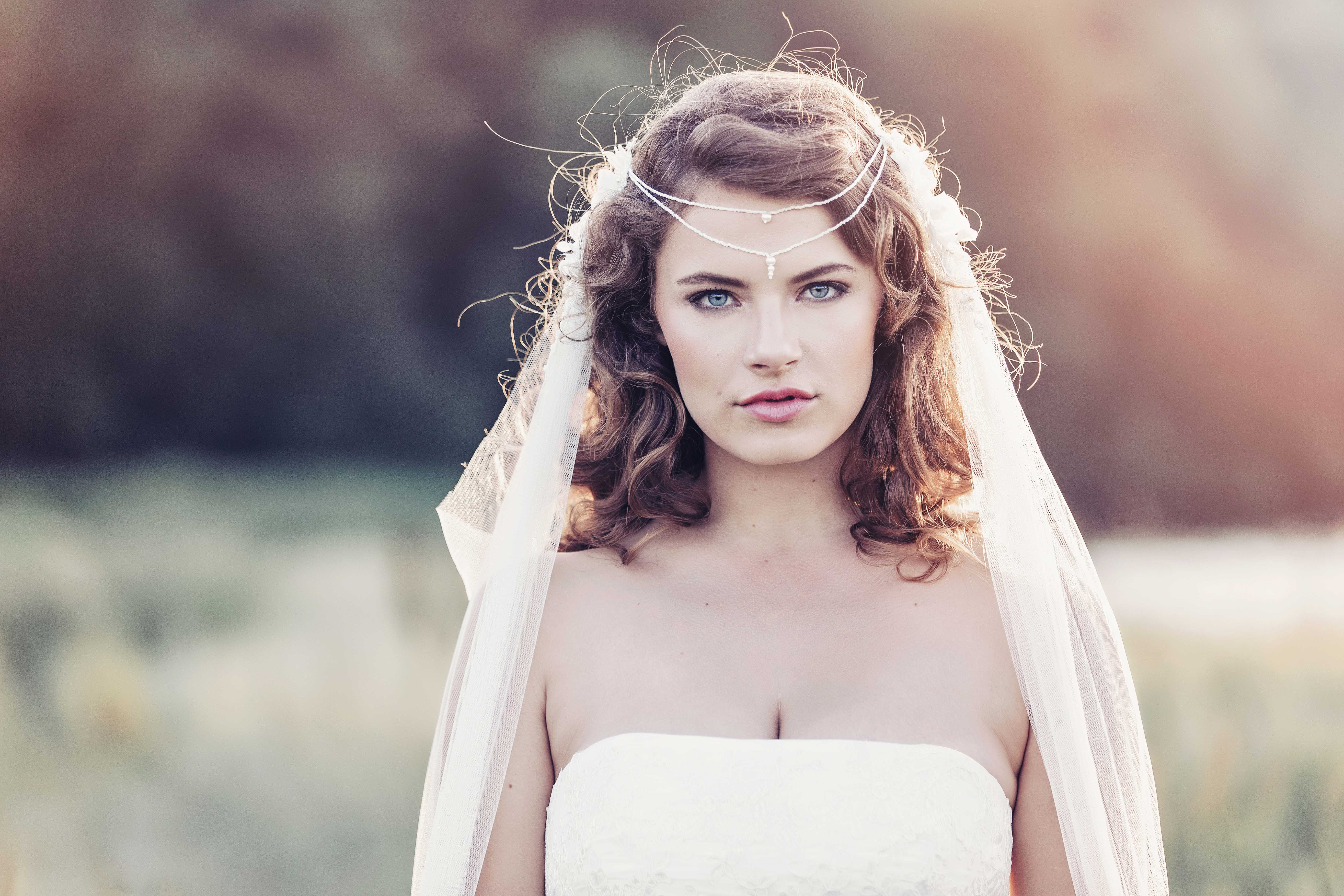 draped wedding veil