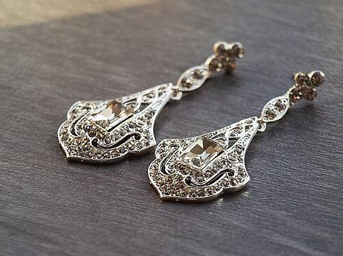 bridal crystal earring, crystal art deco earring