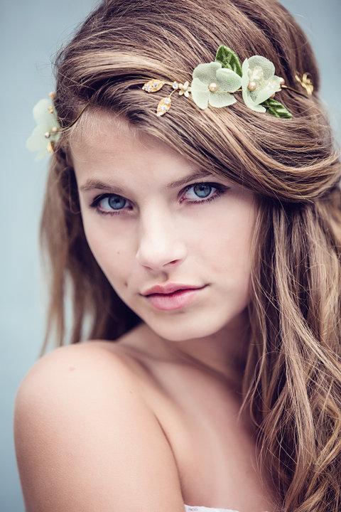 Miss Sarah golden halo, wedding hair