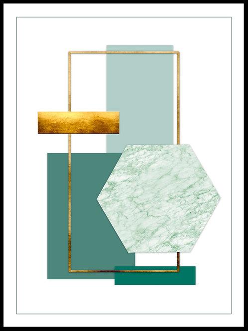 Geometrisk illustration m grøn marmor og guldeffekt