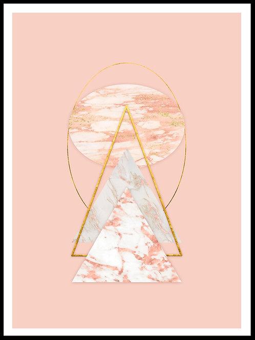 Polygon illustration pink marmor