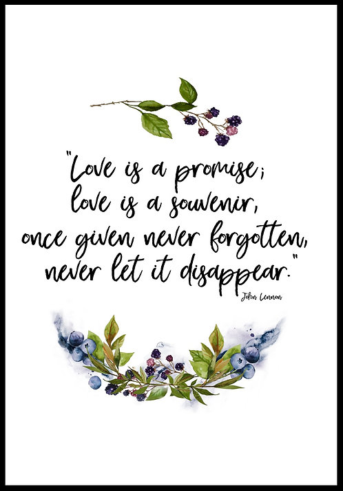 Love is a promise.. citatplakat
