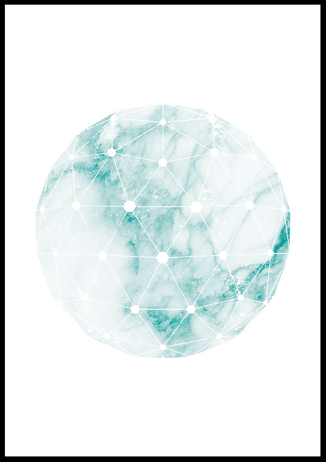 Cirkel illustration i grøn marmor