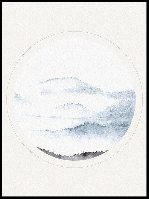 Akvarel bjerg billede 2