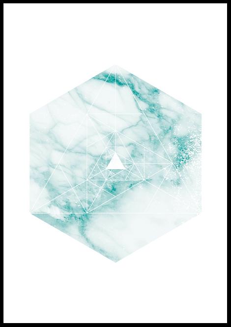 Polygon illustration hvid-grøn marmor