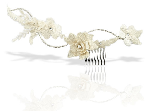 Ivory lace floral comb GD17092508