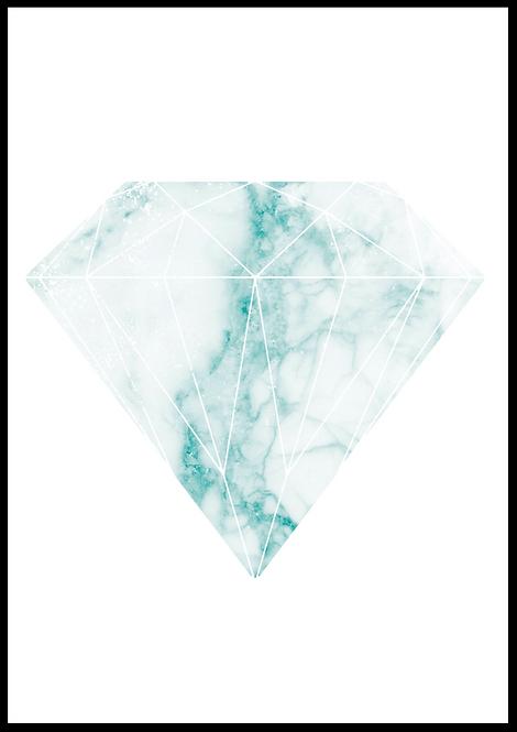 Diamant illustration hvid-grøn marmor