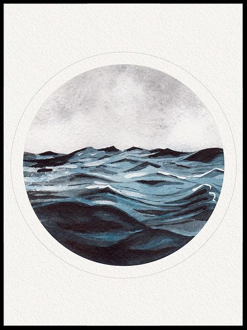 Akvarel hav billede 1