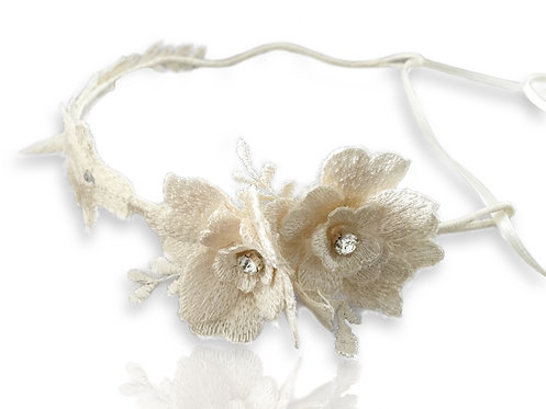 Ivory lace floral headband GD17092509