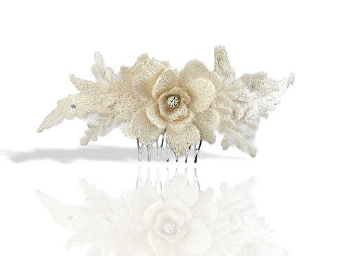 Ivory lace floral comb GD1709250