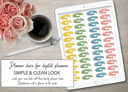 Side Discs for DIY  Digitale planners - stickers set