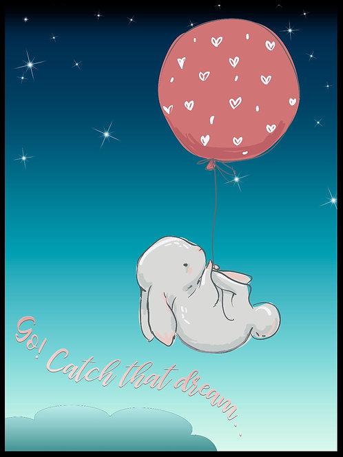 Go catch that dream. Kanin med ballon