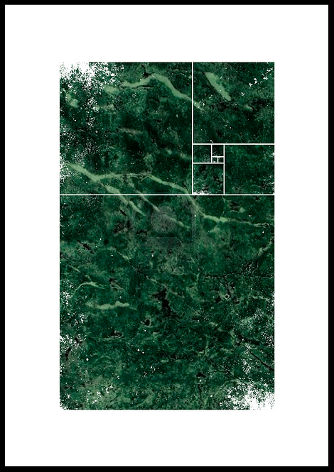 Det Gyldne snit illustration i grøn marmor