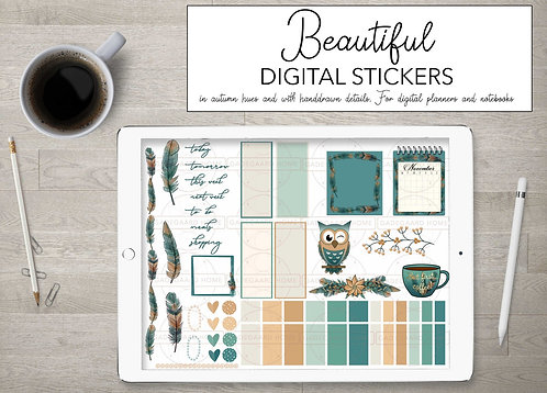 Boho Blues Digitale stickers set