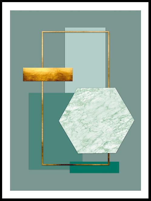Geometrisk illustration m grøn marmor & guldeffekt