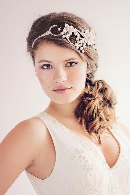 The Evangelina blush Bridal Halo Headpiece