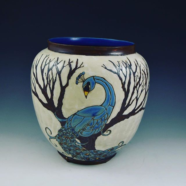 Peacock vase #sassafrasspottery #peacock