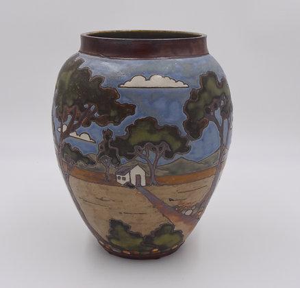 Large Tree Vase with House