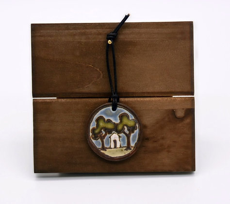 Round Landscape with House Hanging Tile