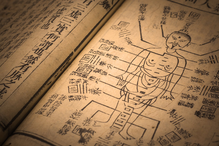 old book image of human with acupuncture point measurements written in ancient Chinese script