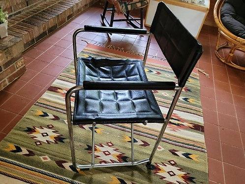 MCM Black Leather & Chrome Chair