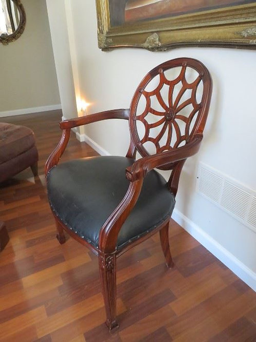 """Occasional chair black leather seat 30"""" tall, VG condition 2 available"""
