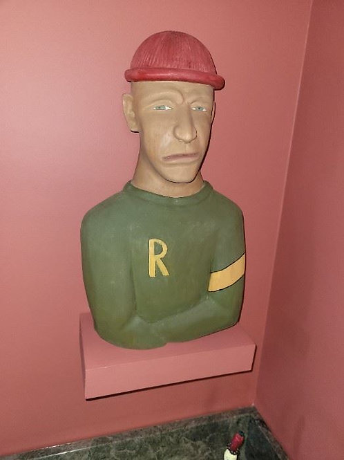 """Wood sculpture by Chris Donnelly 16"""" green shirt"""